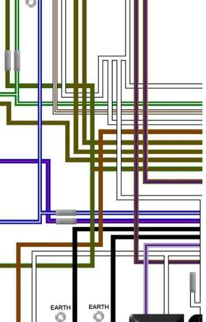 Triumph T150 4 Speed Trident UK Spec Colour Wiring Loom Diagram