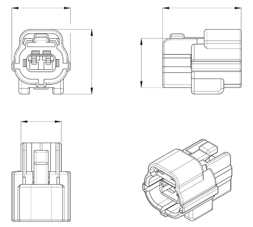Econoseal J Series Mk11 2 Way Female Wiring Connector 174352-2