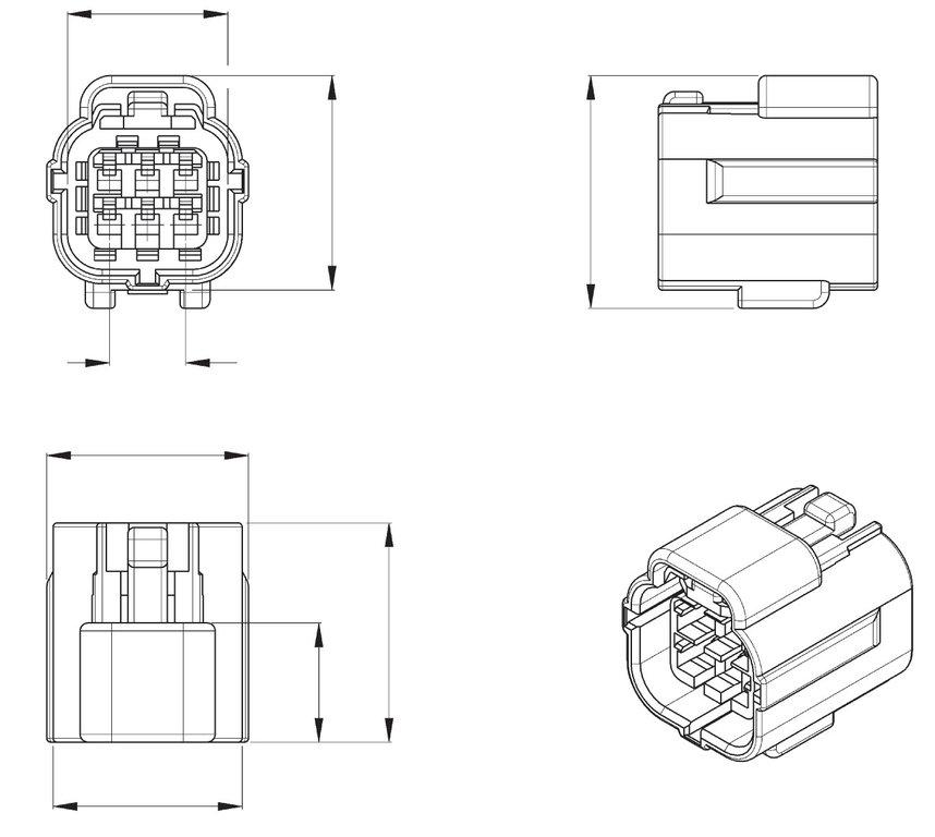 Econoseal J Series Mk11 6 Way Female Wiring Connector 368530-1