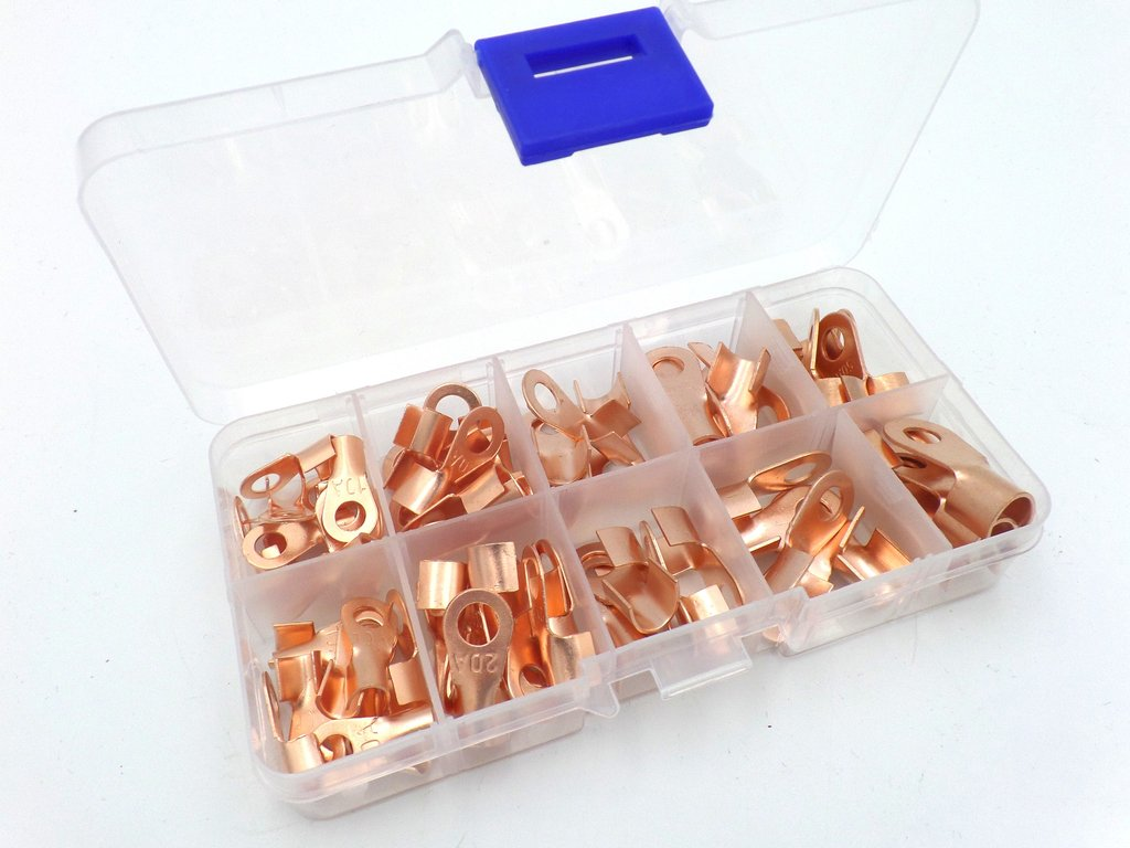 hight resolution of plain copper tube automotive cable ring terminal lug 70 pack