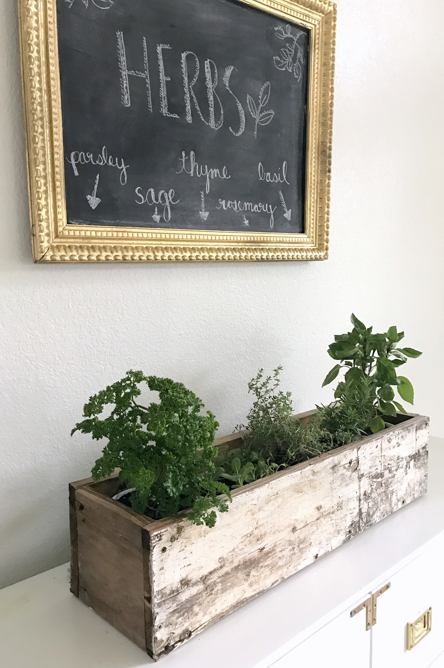 DIY wooden herb planter box