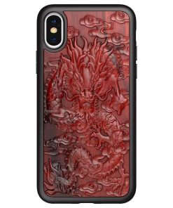 Coque en bois rouge relief 3D iPhone 13 iPhone 12