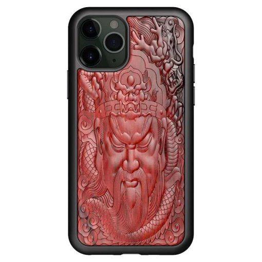 Coque en bois rouge 3D Empereur iPhone 13 iPhone 12