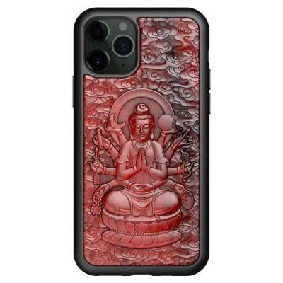 Coque en bois relief 3D Bouddha en action iPhone 12 iPhone 13