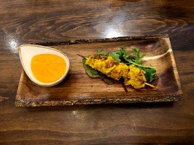 Pollo satay o sate. Cocina Thai