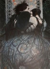"""Σβετλίν Βασίλεβ: """"Romeo and Juliet'', από την εικονογράφηση του βιβλίου """"Romeo y Julieta"""", Ed. Vicens Vives, Barcelona, 2018. «H λέξη """"Σπίτι"""" είναι αρκετά ευρεία ως έννοια, αλλά το """"Home"""" προσεγγίζει περισσότερο την έννοια """"σπιτικό"""", την αίσθηση του σπιτιού, παρά στο """"house"""" το κτίσμα. Από 'κει ξεκίνησε η αναζήτηση μου. Δηλαδή έψαχνα κάτι που να φέρνει αυτή την αίσθηση, της θαλπωρής, της ζεστασιάς, του χώρου στον οποίον ανήκεις, είσαι αποδεκτός και επιθυμητός, με λίγα λόγια εκεί οπού είσαι αγαπητός. Κάπως έτσι έφτασα στην επιλογή εικόνας από το """"Ρωμαίο και την Ιουλιέτα"""". Η αγάπη τους, η αφοσίωση τους, το συγκινητικό τους πάθος να ανήκουν ο ένας στον άλλον τους οδεύουν στο μοναδικό, το τελευταίο, και λίγο μακάβριο """"σπίτι"""" τους»."""