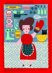 Κλαίρη Γεωργέλλη: από την εικονογράφηση του βιβλίου «Ιστορίες για ατρόμητα κορίτσια - 40 Μοναδικές Ελληνίδες», Σχινά Κατερίνα εκδ. Παπαδόπουλος, 2018. «Για μένα σπίτι είναι η μυρωδιά του κέικ που ψήνεται. Η γεμάτη καφετιέρα. Τα φρέσκα αραδιασμένα υλικά στους πάγκους της κουζίνας έτοιμα για να ανακευτούν και να μαγειρευτούν. Το τρίτο πρόγραμμα στο ραδιόφωνο. Tα χάδια στον σκύλο. Τα Lego. Το έργο αυτό σχεδιάστηκε πρωταρχικά για το βιβλίο της Κατερίνας Σχινάς όπου και αποτυπώνει την μαγείρισσα Χρύσα Παραδείση. Με την αφορμή την έκθεση στο Μύρτιλλο, θεώρησα οτι είναι πολύ κατάλληλο διότι αντιπροσωπεύει την 'εστία' του σπιτιού που κατά κύριο μέρος για μένα είναι η κουζίνα και το μαγείρεμα».