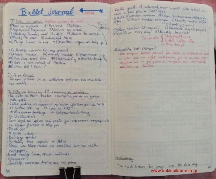Bullet journal ideas overview
