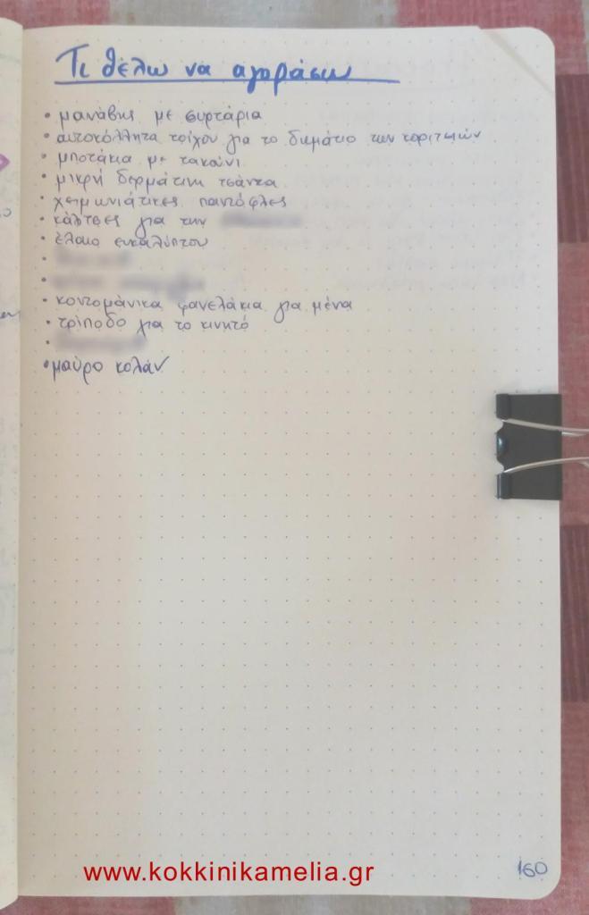 Τι πράγματα θέλω να αγοράσω - bullet journal