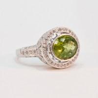 14K White Gold Peridot and Diamond Ring | Ladies, Rings ...