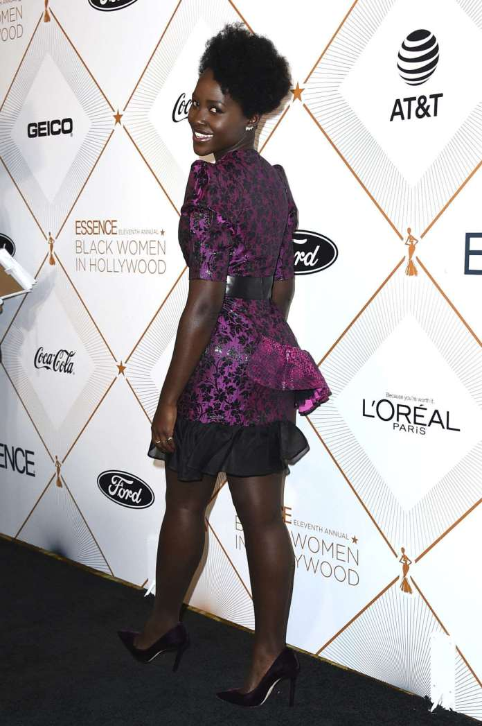 #BlackPanther! Lupita Nyong'o Dazzles In Daring Pink Dress At The 2018 Essence Black Women In Hollywood Oscars Luncheon 2