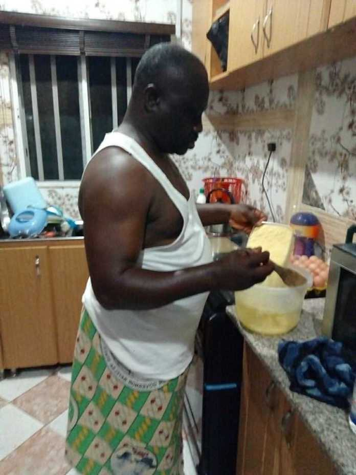 """Your Wife... Is Not A Slave"" - Nigerian Retired Soldier Says As He Shares Pictures Of Himself Cooking 3"