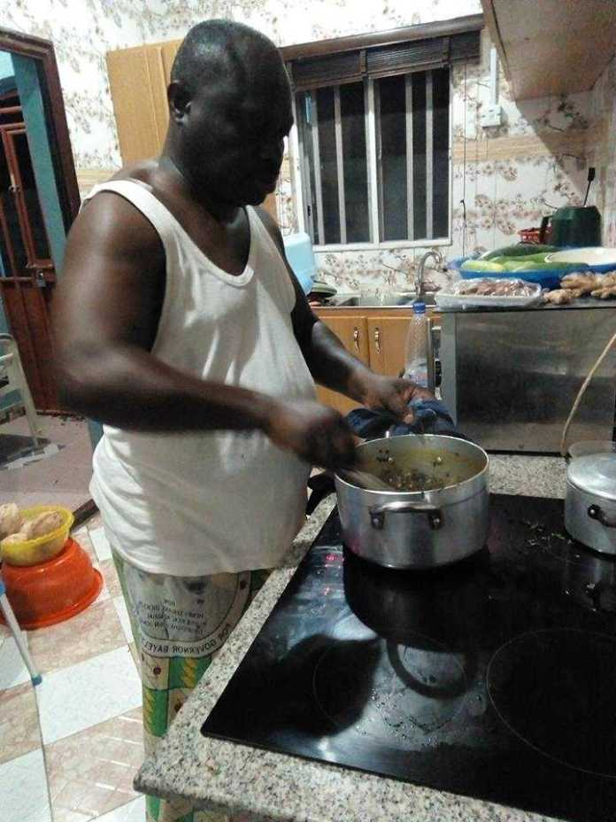 """Your Wife... Is Not A Slave"" - Nigerian Retired Soldier Says As He Shares Pictures Of Himself Cooking 1"