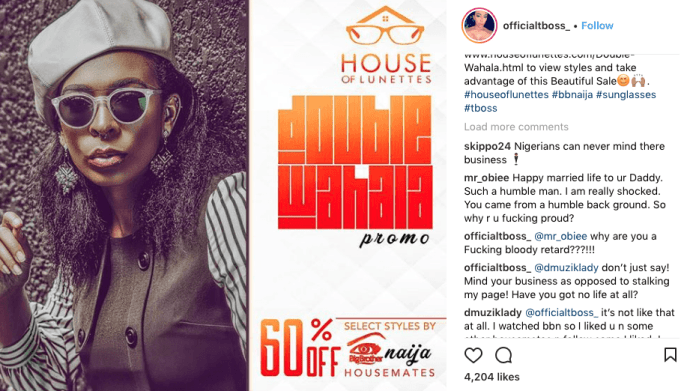 Hot! TBoss Calls One Of Her Followers A 'Bloody Retard' 2