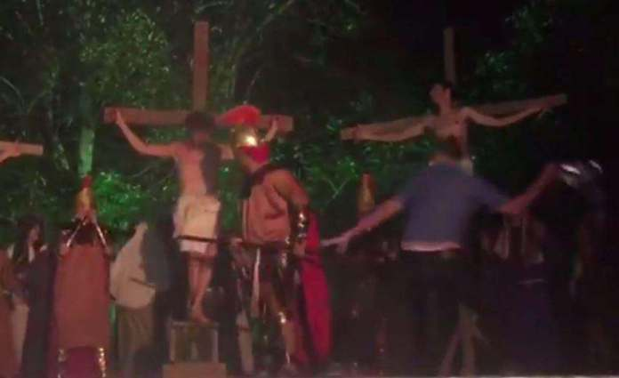 Saving Jesus! Theatre-goer StormsPassion Play Stage And Attacks 'Roman Soldier' To Stop Jesus 'Being Crucified' 3