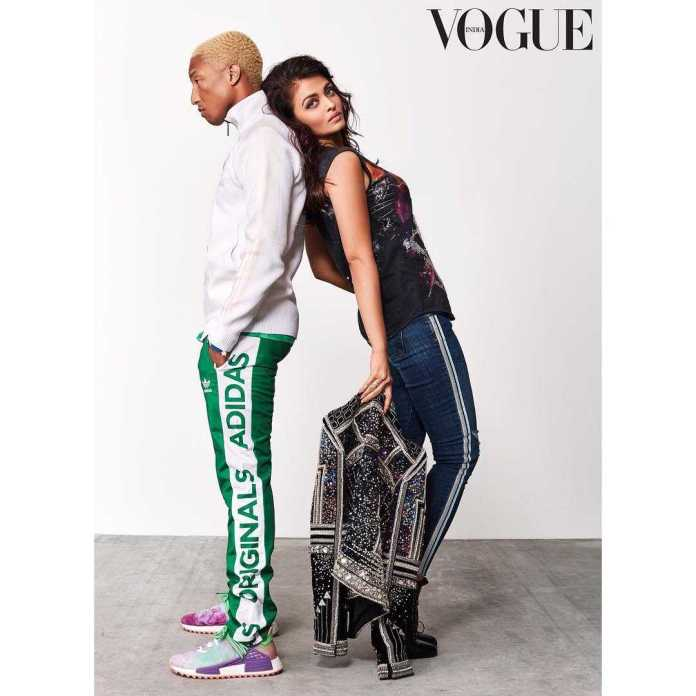 Pharrel Williams And Aishwarya Rai Bachchan Style For The Cameras On The Cover Of Vogue India 5