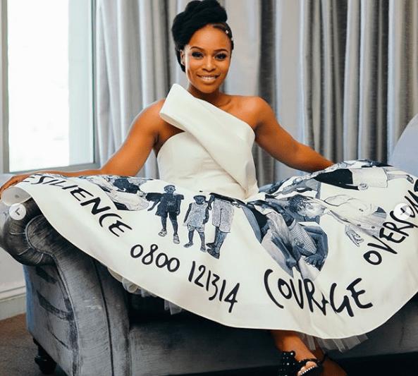 Style Stalking! Nomzamo Mbatha Shares Close Up Photos Of Her Graduation Dress 2