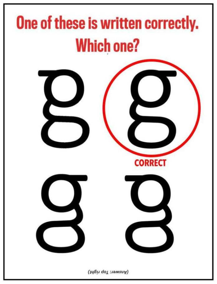 The G Quiz: Can You Pick Out The Right Lower-case Form Of The Letter G? You'll Be Shocked You Probably Can't 3