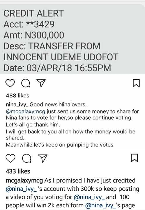 #BBNaija2018: Mc Galaxy Credits N300,000 To Nina's Account To Share For Her Fans To Vote For Her 2