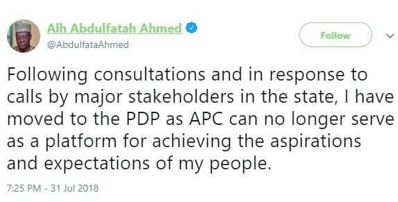 Kwara State Governor Abdulfatah Ahmed Defects To PDP 4