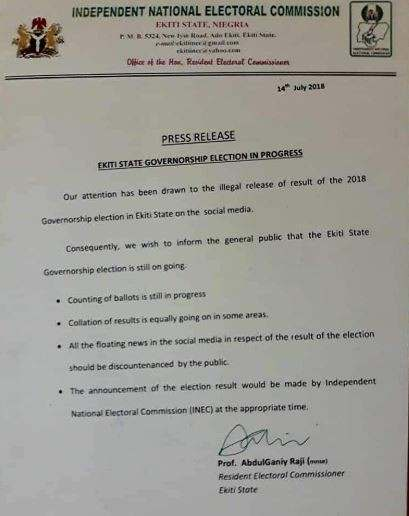 Ekiti Election: Do Not Pay Attention To The fake Results, We Are Still Collating It - INEC 3