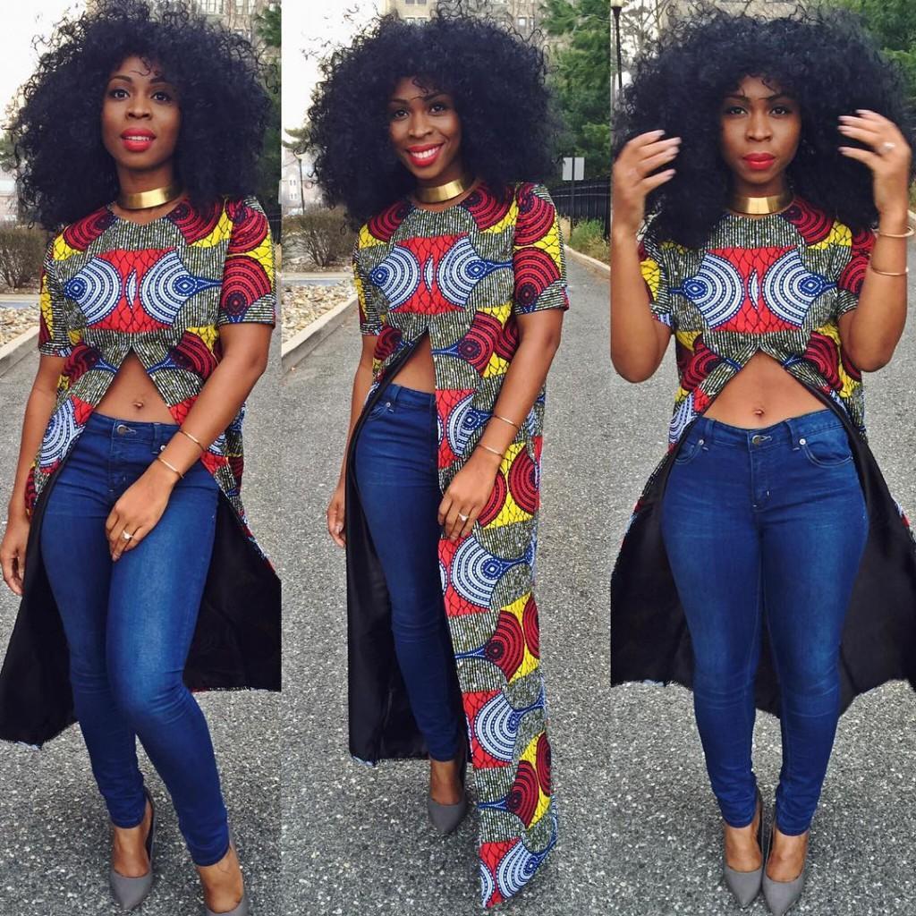 259b4f13b95a1f Ankara Styles  5 Adorable Ways To Rock Ankara Tops On Trendy Jeans