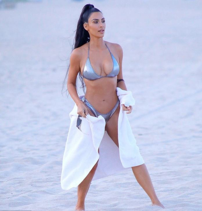 Kim Kardashian Smoulders In Sexy Silver Bikini In New Photos On Miami Beach 3