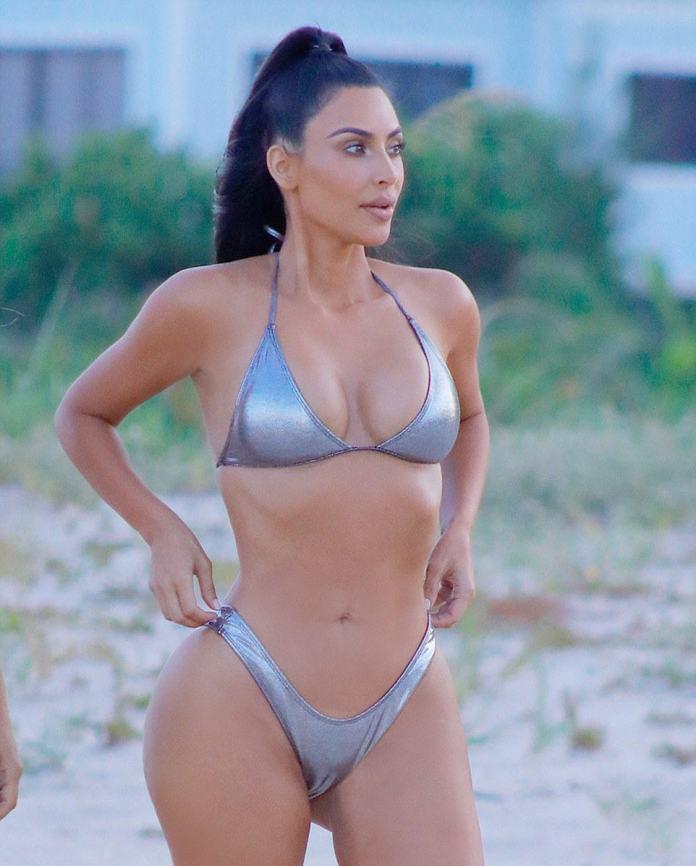 Kim Kardashian Smoulders In Sexy Silver Bikini In New Photos On Miami Beach 4