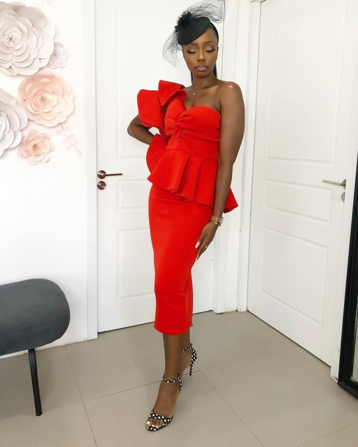Style Stalking: Bambam Oozes Gorgeousness In Red Mono Strap Dress 1