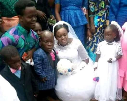 Trending! Photos of The Dwarf And Bride On Their Wedding Day Melts Hearts Online 2