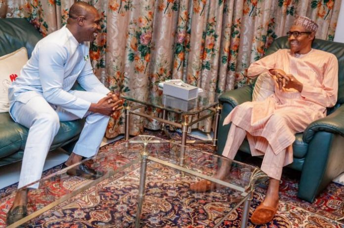 Photos: Obasanjo's Son All Smiles As He Meets With President Buhari 3