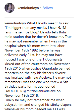 I Changed Your Diapers - Kemi Olunloyo Comes For Davido 1