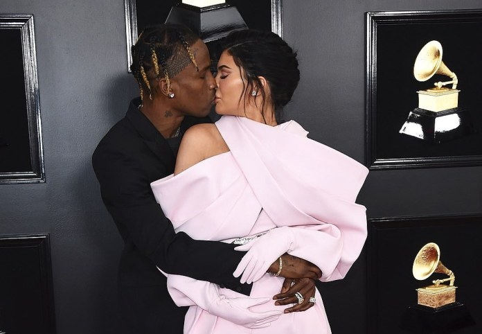 Celebrity Couple: Kylie Jenner, Travis Scott Passionately Kiss On Grammy Red Carpet 2