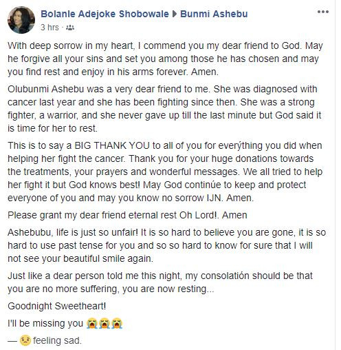 Sport Journalist, Bunmi Ashebu Dies From Stage 4 'Duct Cancer' 3