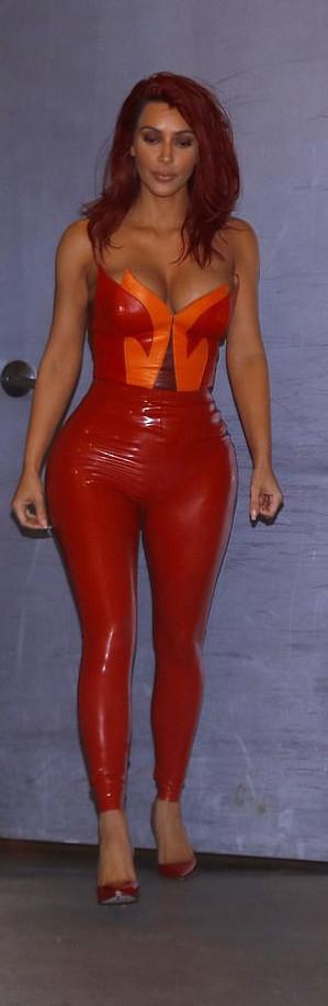 Style Stalking: Kim Kardashian Flaunts Ample Cleavage In PVC Jumpsuit 3