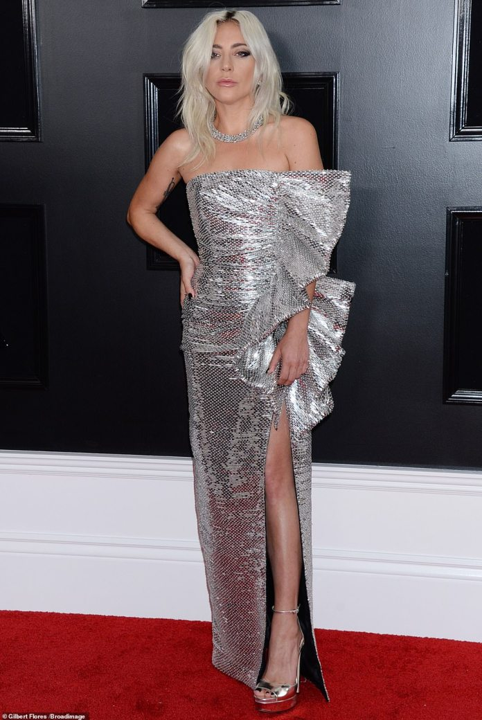 Style Stalking: Lady Gaga Is The Silver Queen In A Celine Gown At The 2019 Grammys 1