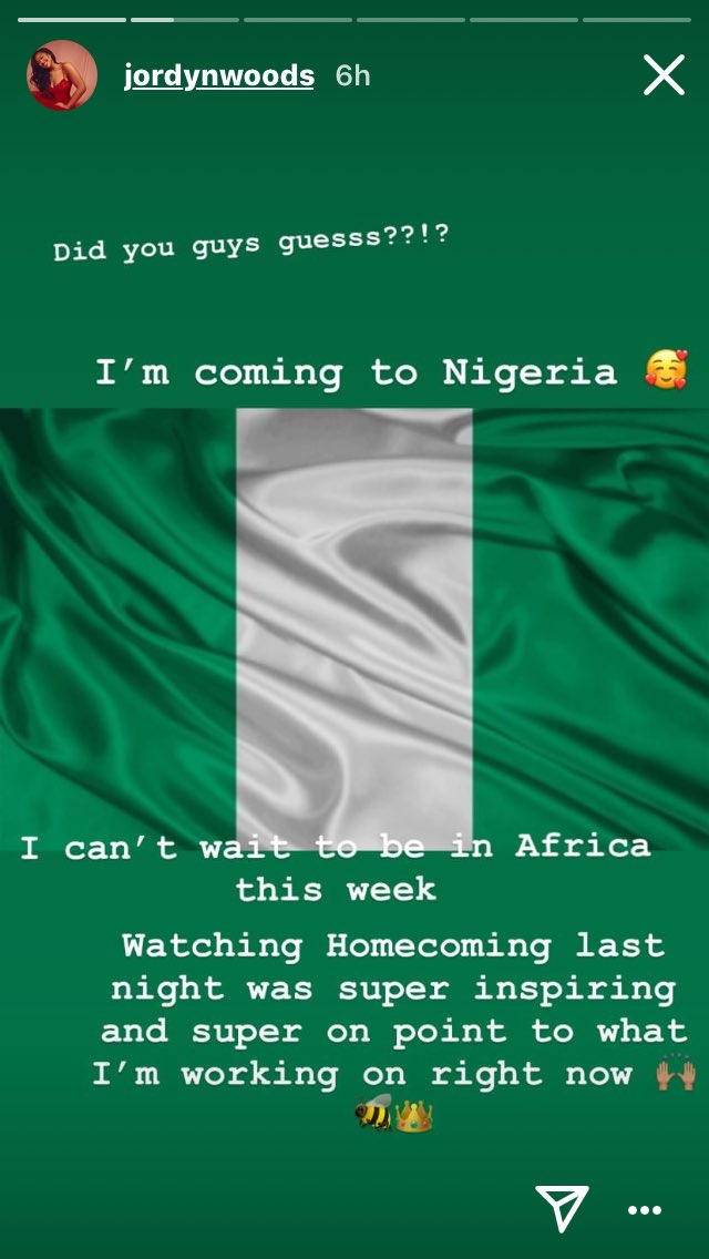 Homecoming Fever? Jordyn Woods Reveals She Is Coming To Nigeria 2
