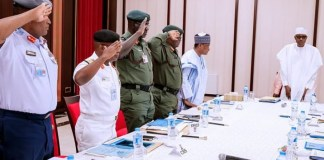 Buhari And Service Chiefs on Insecurity