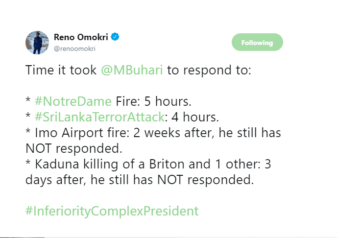 Buhari Suffers From Inferiority Complex - Reno Omokri Blasts Buhari On Twitter 2