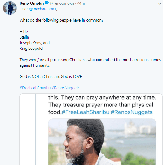 Reno Omokri Schools A Fan On Religion And Crime, Says God Is Not A Christian, God Is Love 2