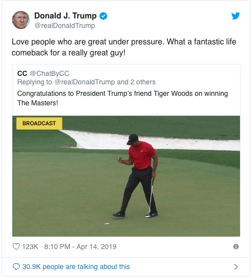 Serena Williams, Lebron James, Donald Trump And Other Stars Congratulates Tiger Woods On His Championship Win 3