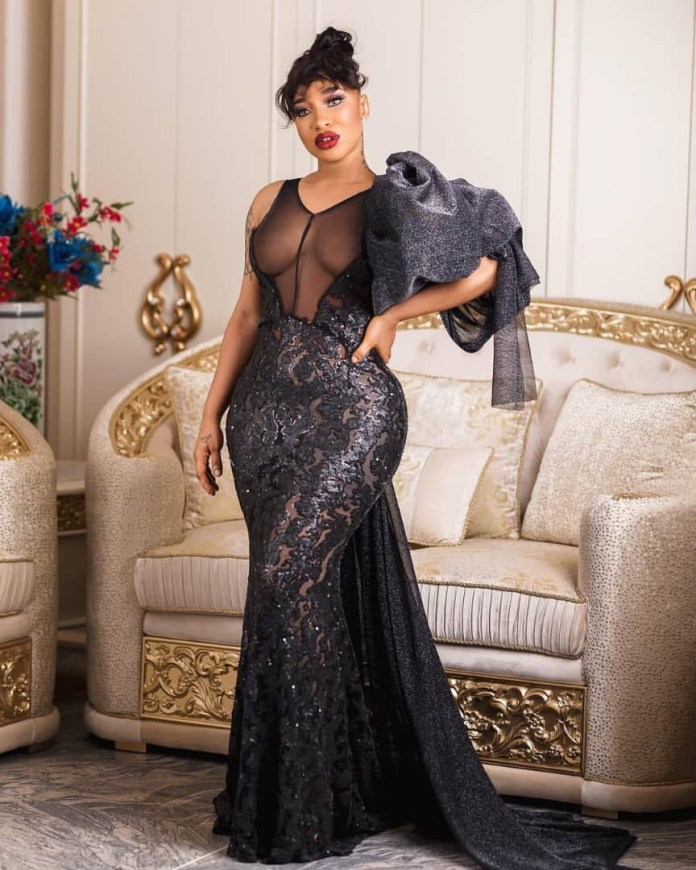 Super Stunning! Tonto Dikeh Puts Banging Body On Display In Sheer Black Mermaid Dress 1