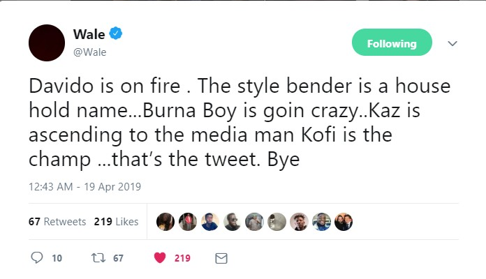 Davido Is On Fire! Wale Stirs Controversy As He Omits Wizkid From Trending Top Nigerian Artistes 2