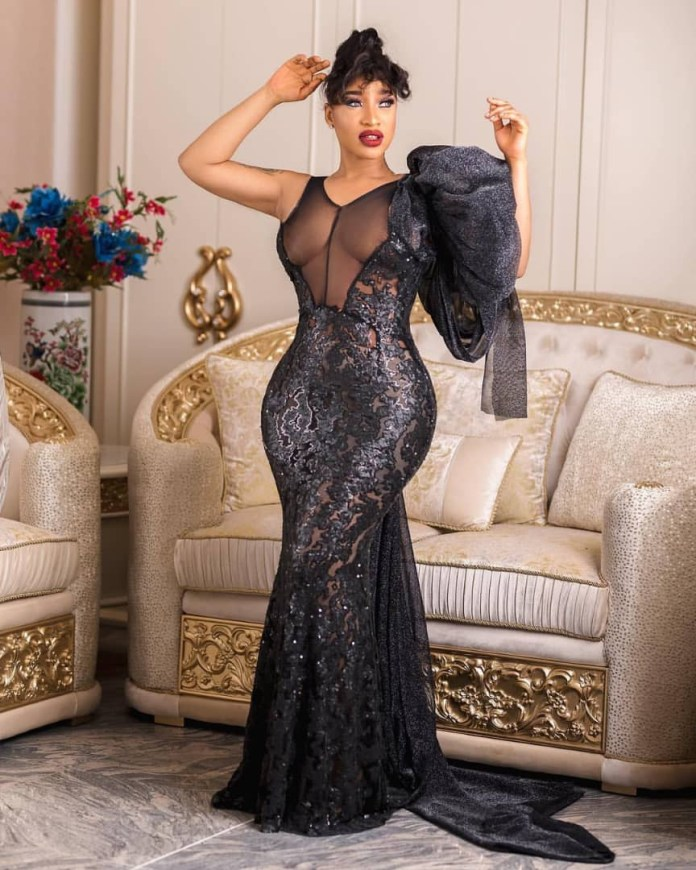 Super Stunning! Tonto Dikeh Puts Banging Body On Display In Sheer Black Mermaid Dress 2