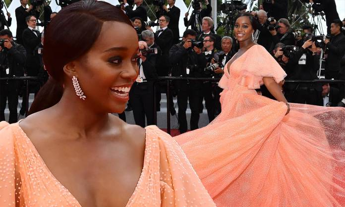 Black Princess! Aja Naomi King Looks Sensational In A Coral Zac Posen Gown At Cannes 4