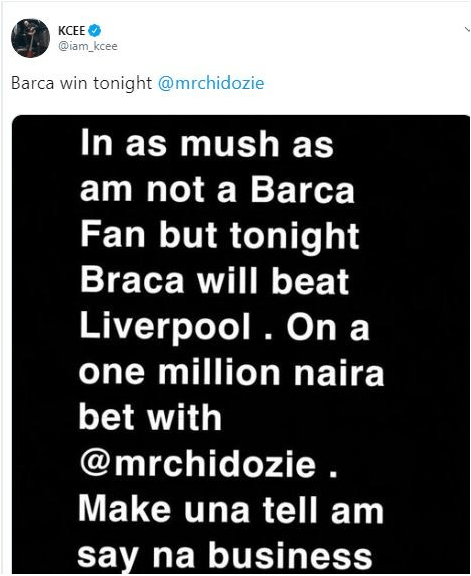 #LivBar- Kcee Loses One Million Naira Bet Following Barca's Defeat Against Liverpool 1