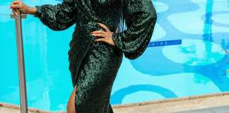 Dakore Egbuson-Akande Elegant In Emerald Wrap Gown