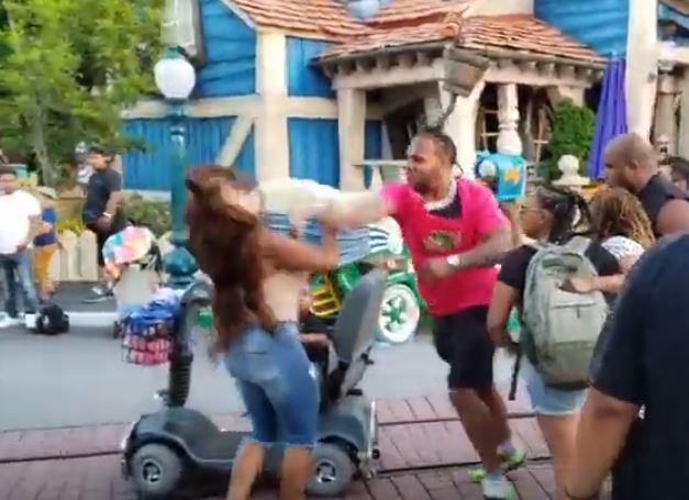 Children Scream As Men Punch Women In The Face During Disneyland Brawl 3