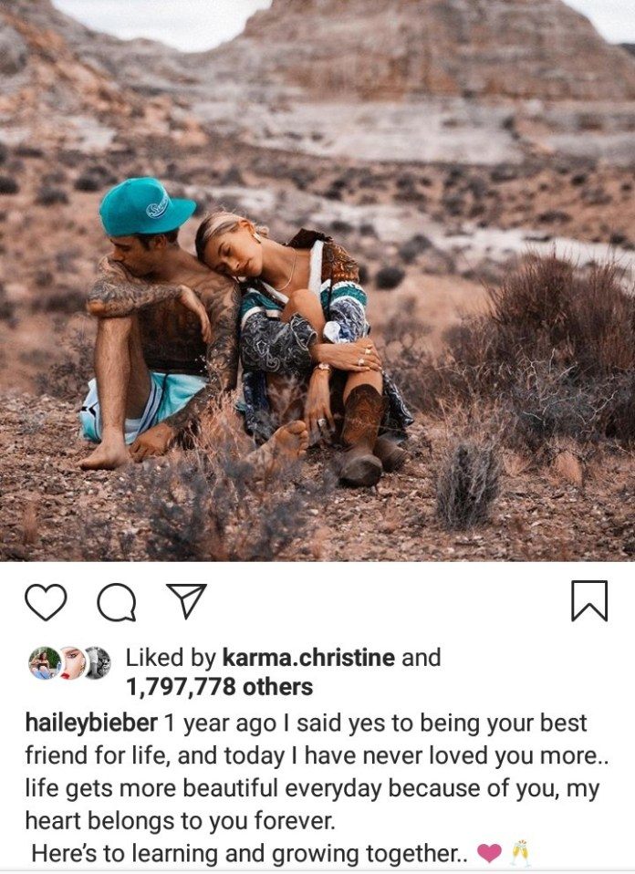 Hailey Baldwin Says Her Heart Belongs To Justin Bieber Forever As They Celebrate Engagement Anniversary 2