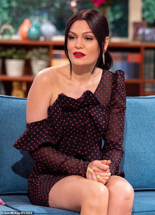 Jessie J Oozes Beauty In Polka Dots Off-Shoulder Midi Dress